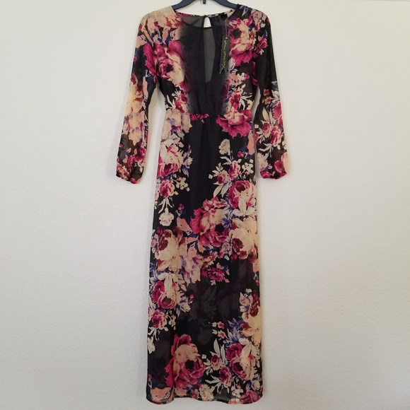 Petticoat Alley Dresses & Skirts - Petticoat Alley Floral Long Sleeve Maxi Dress XS